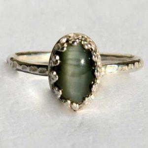 טבעת אהבה משובצת אבן עין החתול
